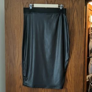 Wet Leather Look Pencil Skirt